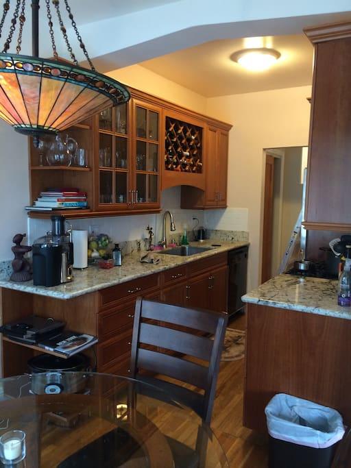 Full kitchen with dishwasher, juicer, vitamix, oven and fridge