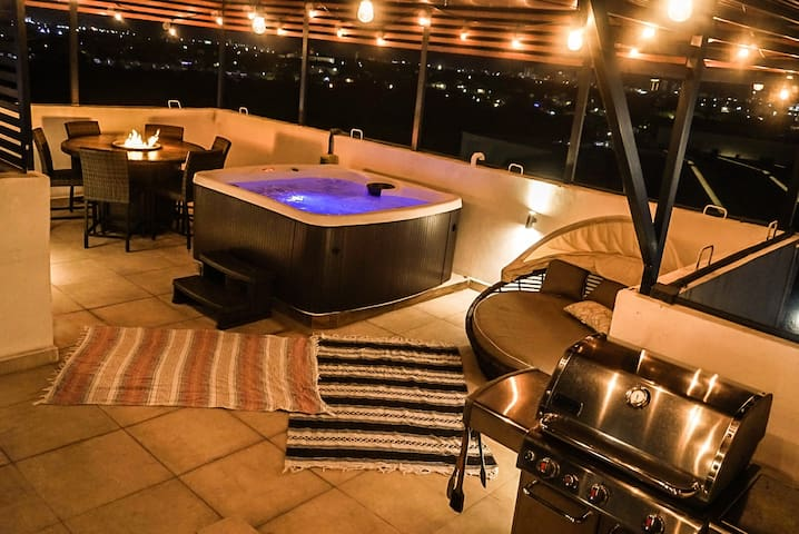 make your favorite grill food. enjoy the night view with stars and moon meanwhile getting massage from hot tub. make this vacation experience luxury but affordable :)