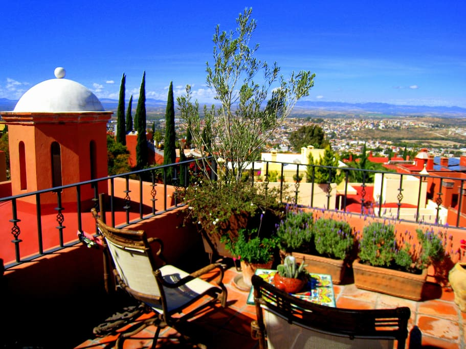 A 360 degree view of all of San Miguel from the Rooftop Terrace, with Barbeque, sink & refrigerator all rooftop!