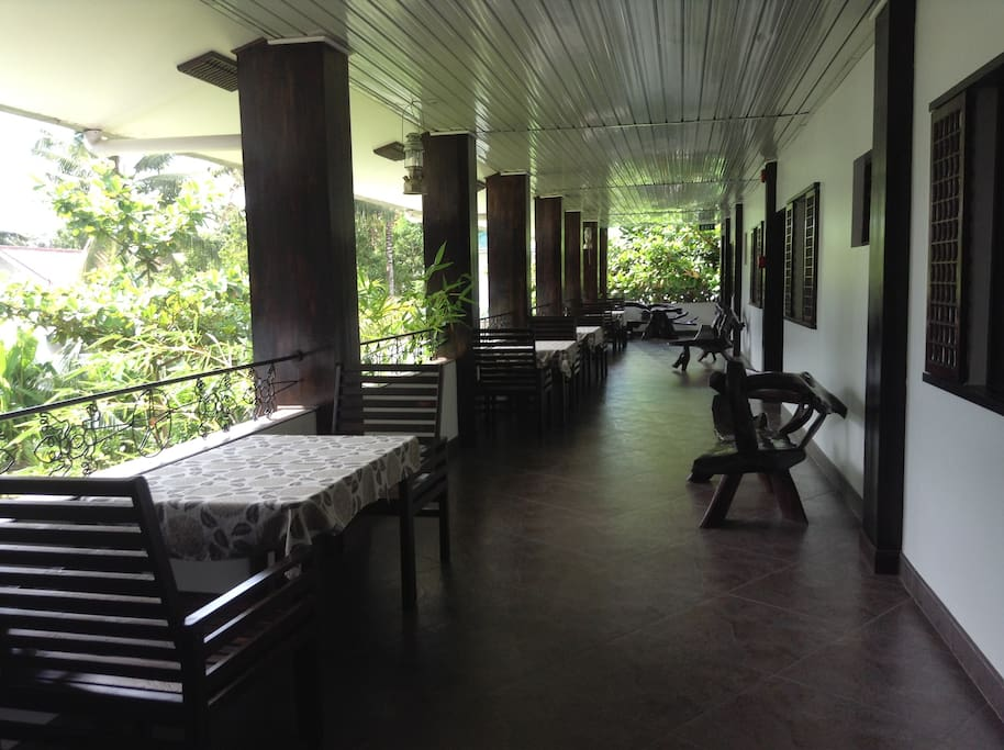 View of terrace in front of the rooms