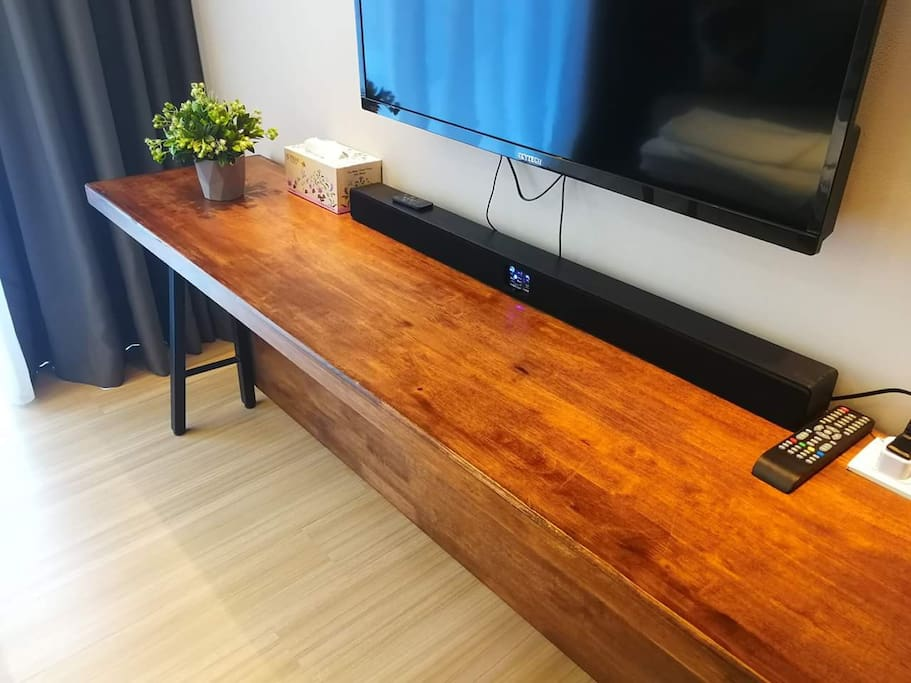 "Enhanced living room ambiance, we prepare a sound bar and 40"" LED HD TV  for you. Besides we have a humidifier or air purifier in living area too."