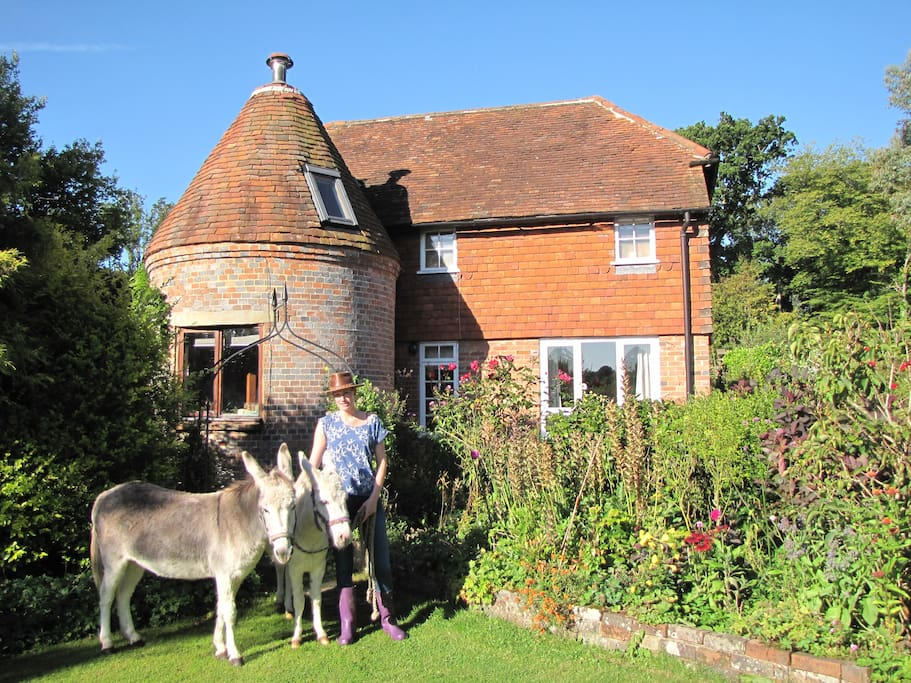 Oast house with donkeys
