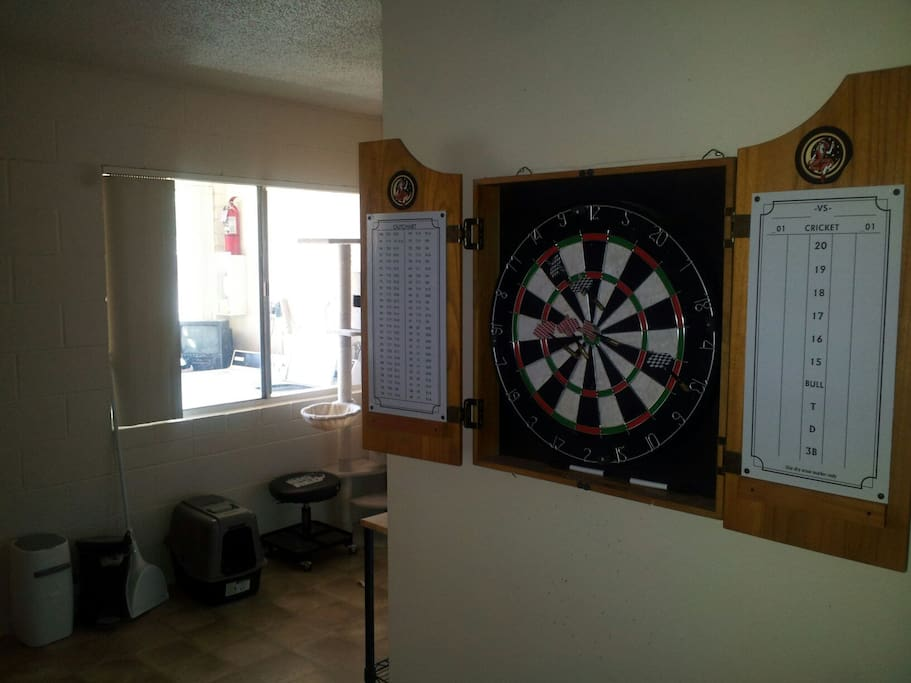 Dartboard in the living room
