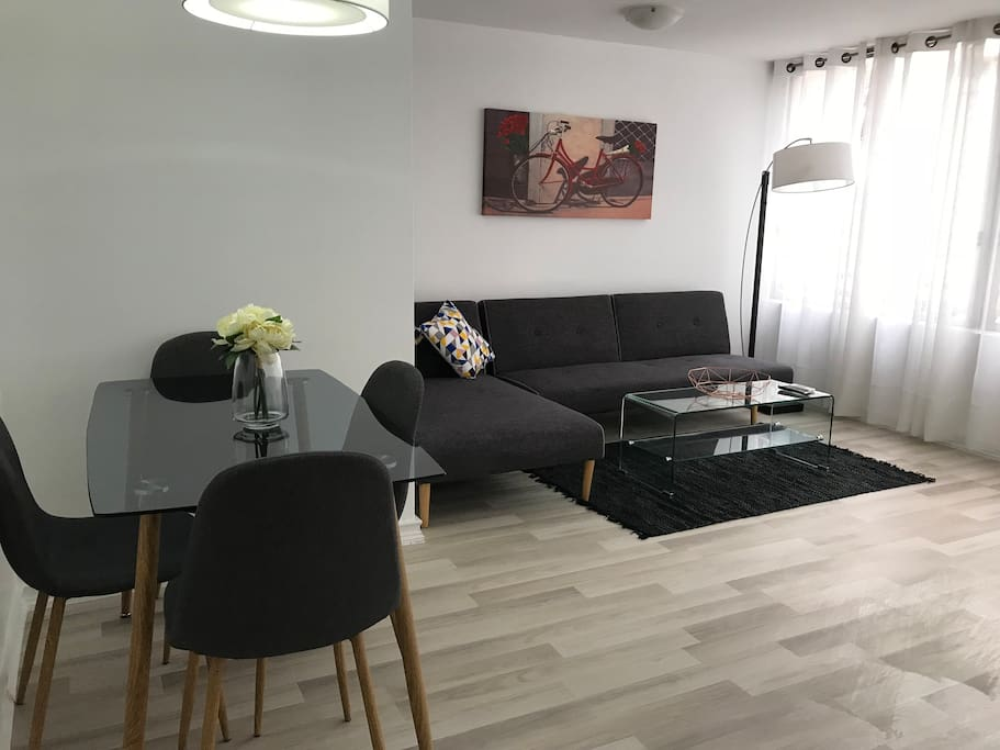"Amplio living comedor con Tv plana 43"", mesa para 4 personas, sofá cama de 2 plazas, terraza. Aire acondicionado."