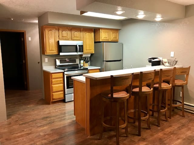 Fully equipped kitchen perfect for preparing your own meals or enjoying a nice cup of coffee.
