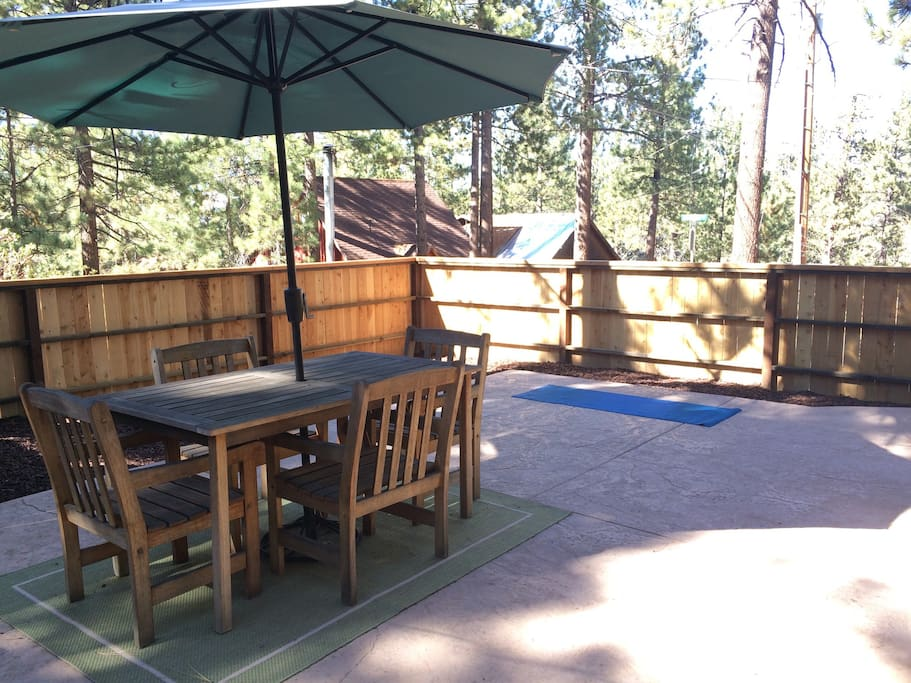 The patio is a great place to relax in the sunshine.  Lots of birds and squirrels to watch and lots of rooms for some yoga.