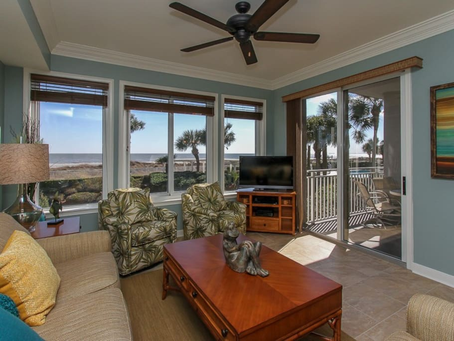 Living Room with Ocean Views and Balcony Access at 3104 Sea Crest