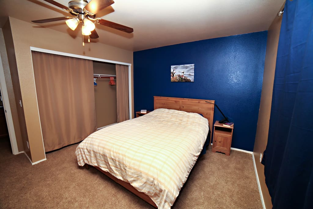 The room has a large closet to hang your clothes and plenty of storage space.