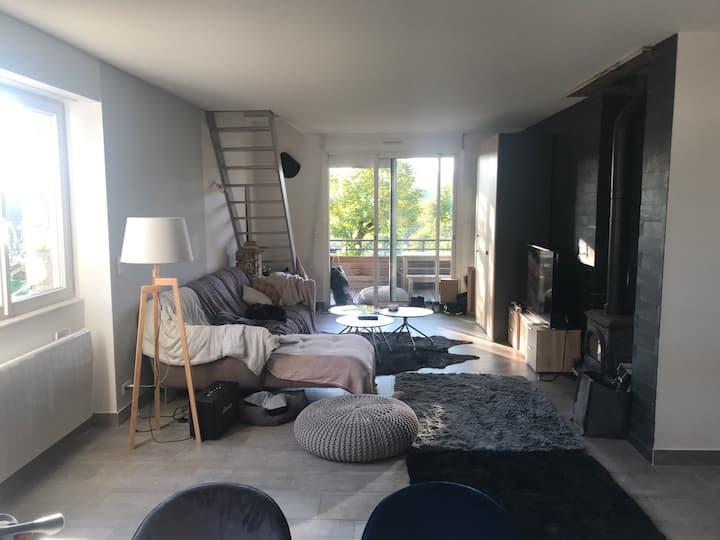 Duplex moderne 80m2 poêle/bois jardin+2parking+vue