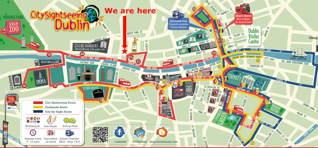The Official Sightseeing Dublin Bus Tour Map and apartment location
