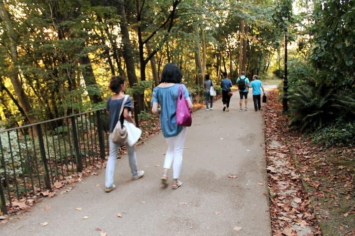 Walking between the lush vegetation