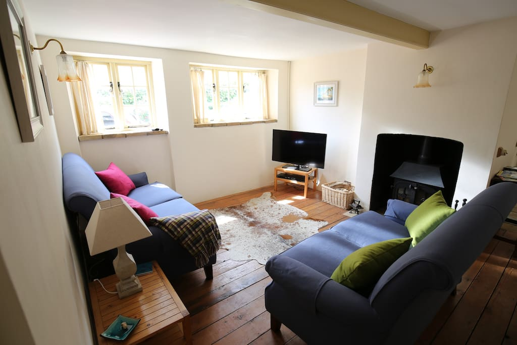 Lounge with log burner, LCD TV, Freesat & Blu-Ray player