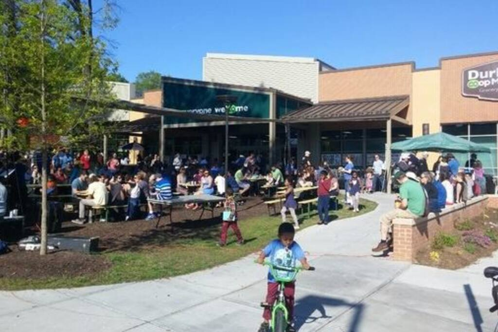 Durham Co-op Market is ACROSS THE STREET!! Organic, local, healthy food, with a hot bar for breakfast, lunch dinner.