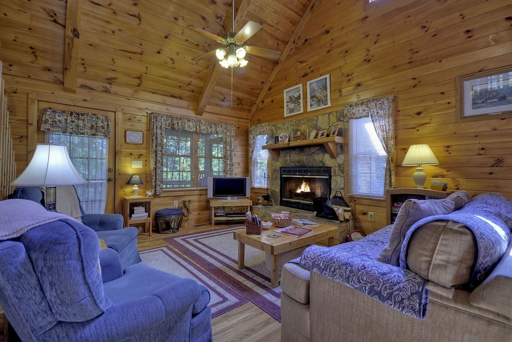 LivingRoom with a Wood Burning Fire Place