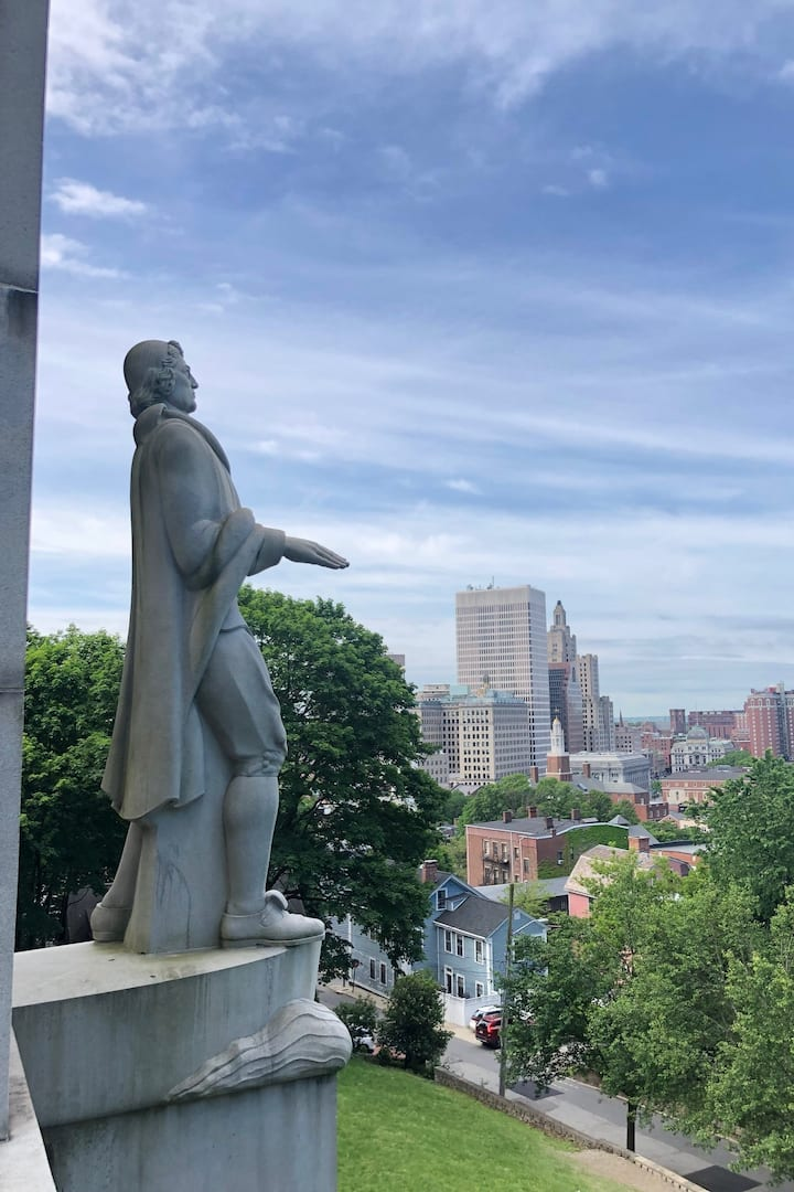 Roger Williams, escaped from Salem.