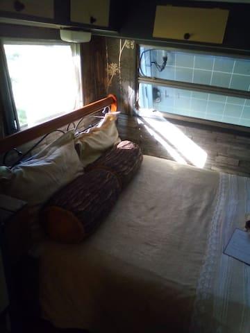 Double bed in Caravan 1.