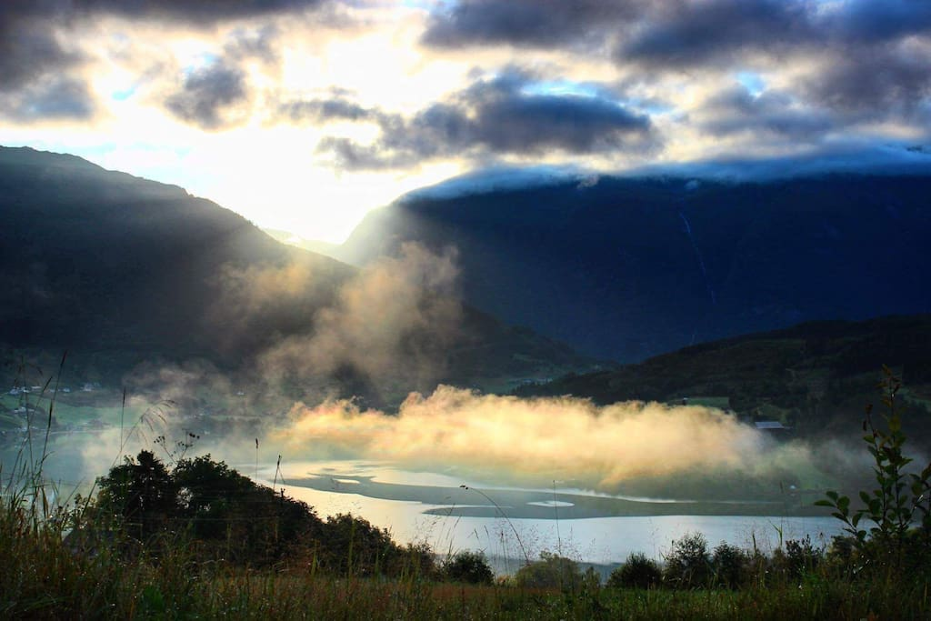 Enchanting morning view of the fjord from the farm