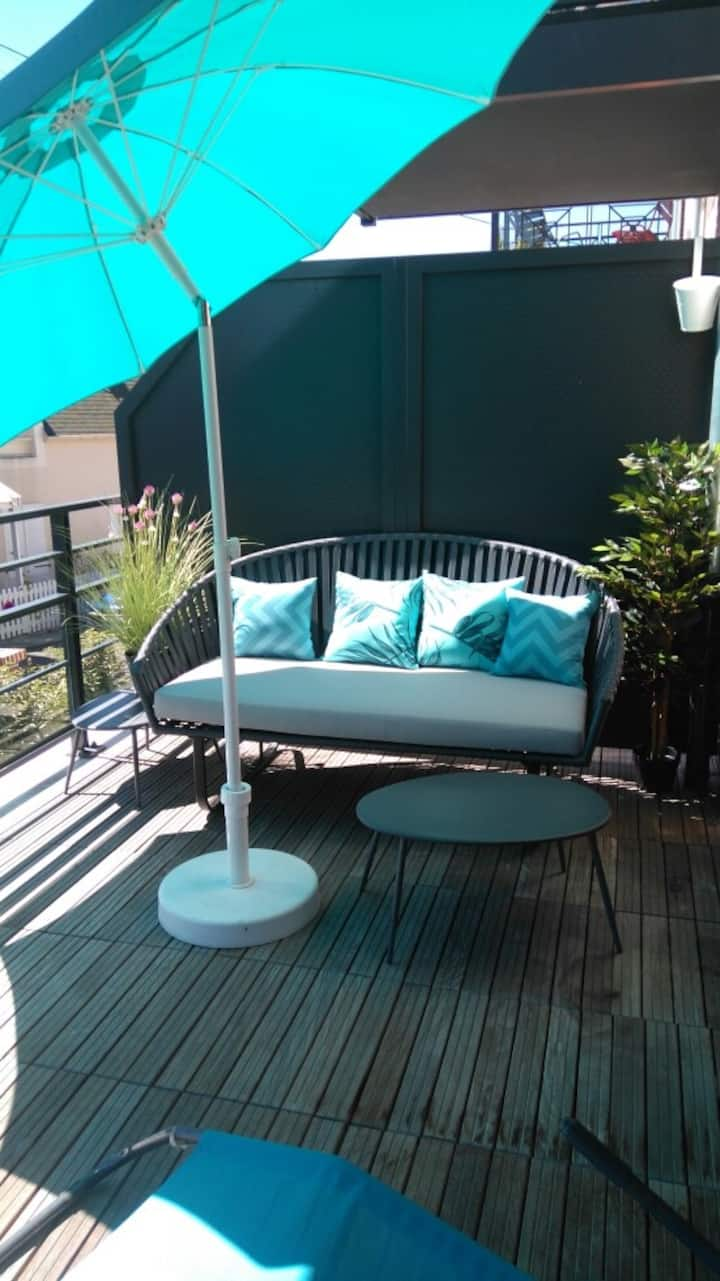 Apt 2P neuf  Trouville centre : terrasse, parking