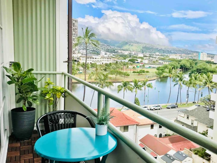 ❤️ of Waikiki. WATER View Studio Sunny Full Kitchen