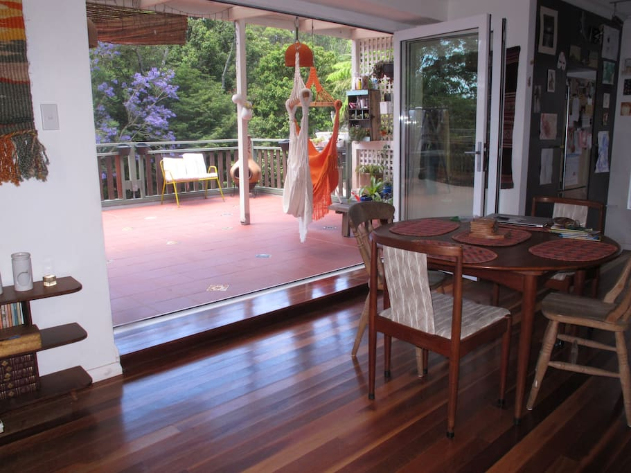 The living area opens to the deck