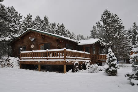 Beautiful Log Cabin on a spacious wooded lot.  5 miles for awesome skiing at Angel Fire Resort.  Enjoy the wraparound porch Spring, Summer, Fall, and Winter.  Summer temperatures are heaven!!