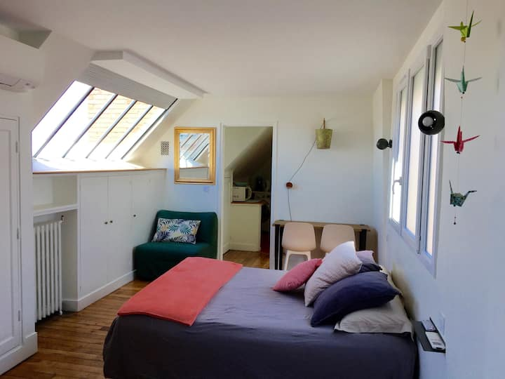 Charmant studio avec terrasse et vue sur les toits
