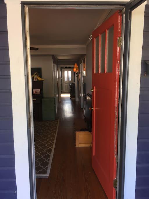 Looking straight thru to the back door.