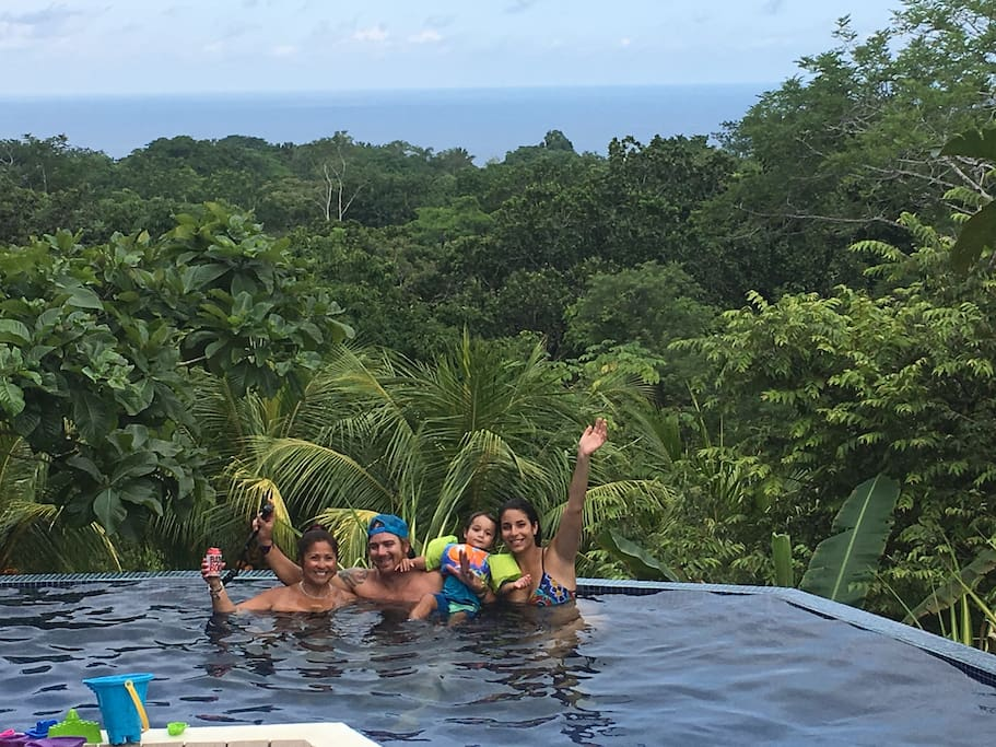 Our family enjoying the Chez Mu pool on August 4, 2017