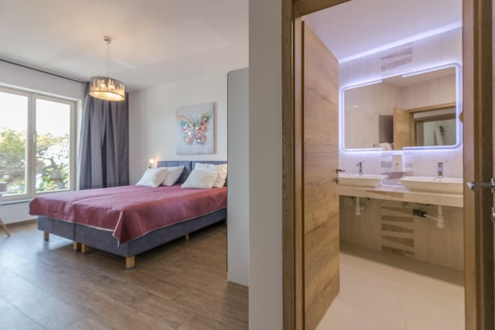 """""""Butterfly """" bedroom and bathroom ensuite is equipped to extremely high standards, large, comfortable bed and furnishings are all of high quality."""