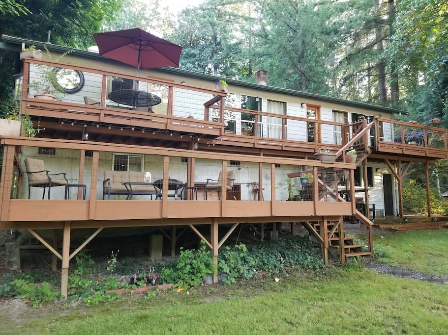 River side of house and several deck areas.
