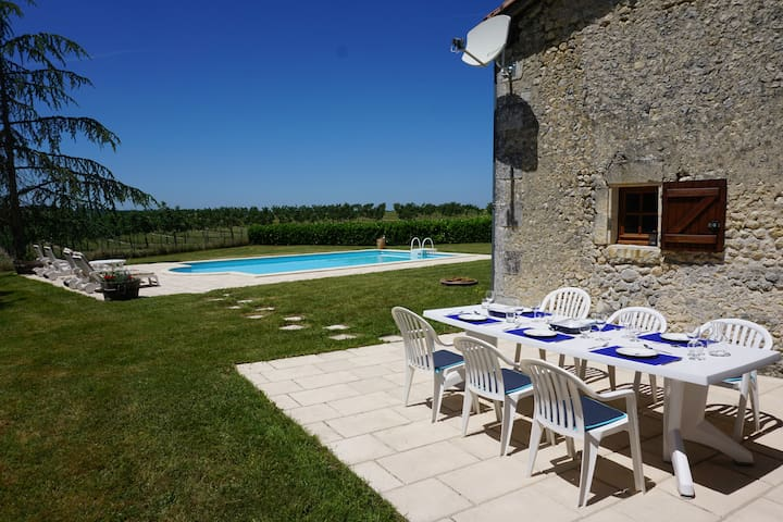 Outdoor dining terrace and pool