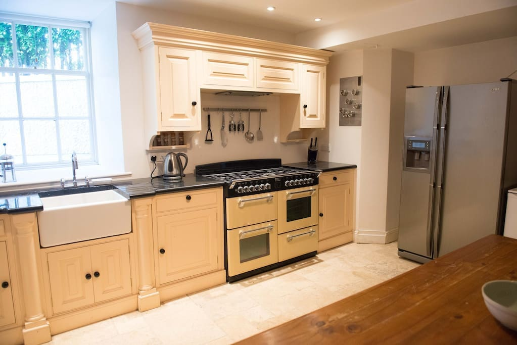 Cosy communal kitchen with gas range