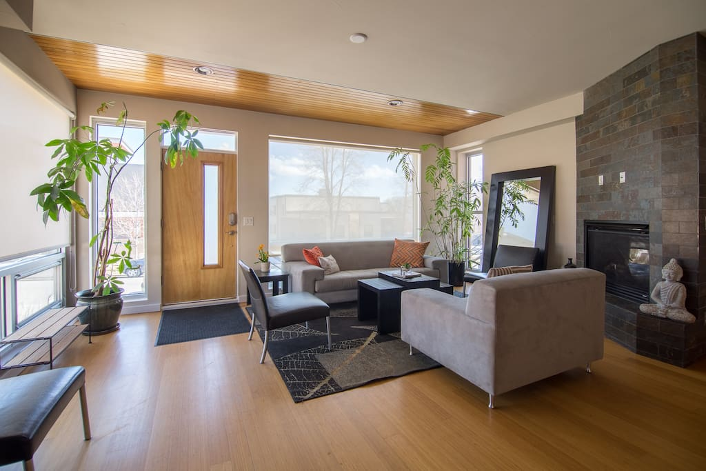 Our home features three levels, plus a rooftop deck.