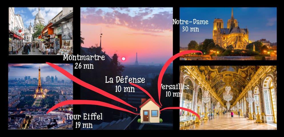 Chambre sur jardin, proche Paris & Versailles