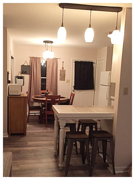View from living area to kitchen