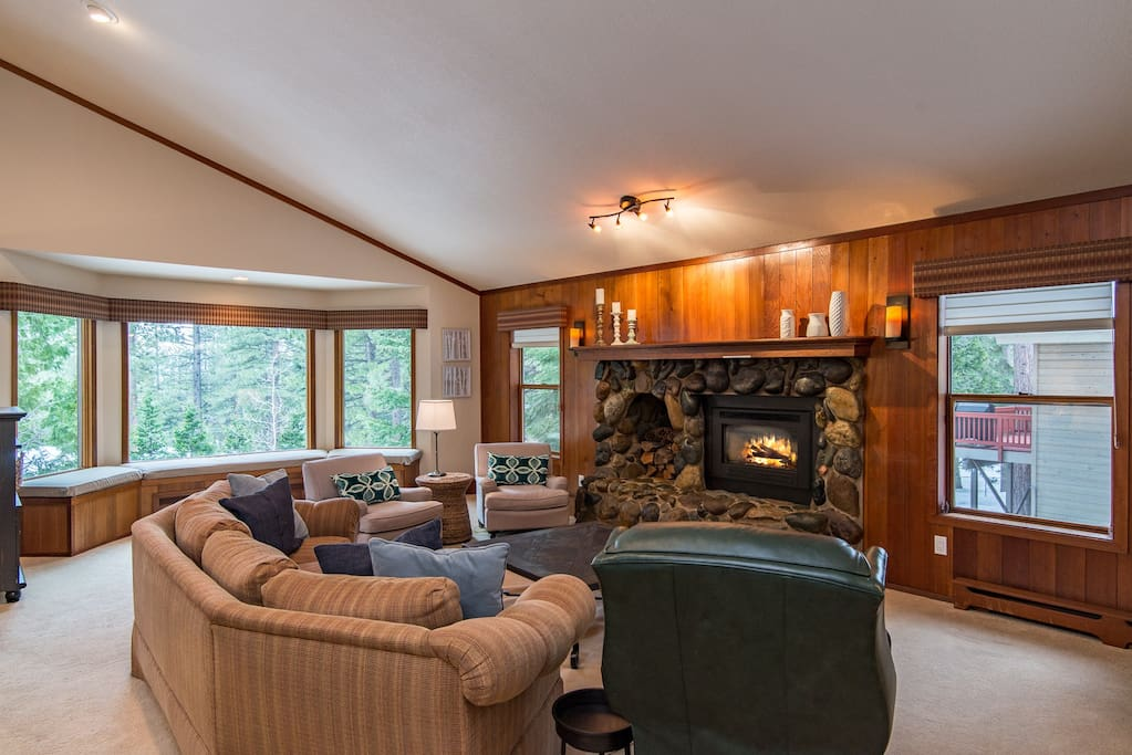 Cozy up in front of the fireplace