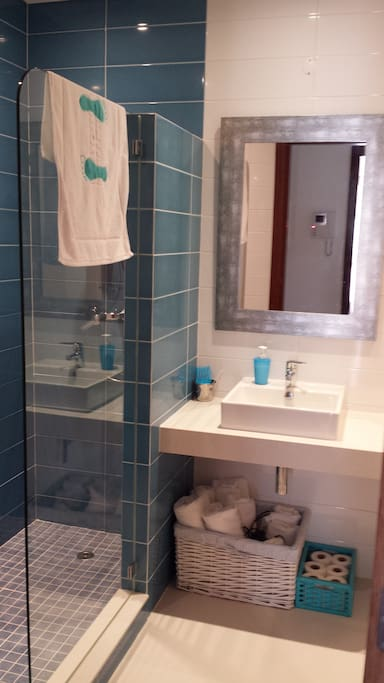 Cuarto de baño con amplia ducha