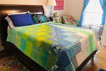 This quilt pattern is called Making Waves and  uses fabric from Tula Pink's Zuma line. Jump in bed and drift off to sleep.