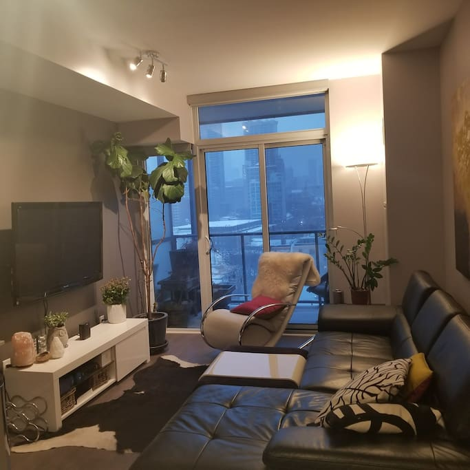 Living room with large flat screen tv, cable & Netflix