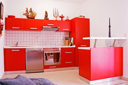 Red apartment with big terrace