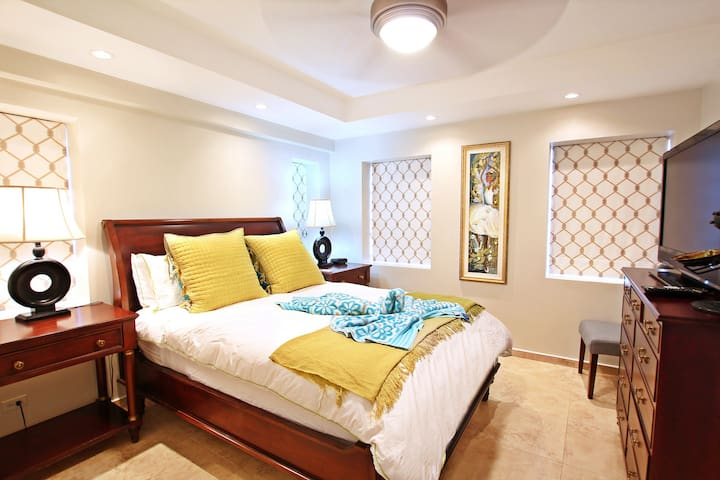 The master bedroom with a queen bed, en suite, air-conditioning and TV