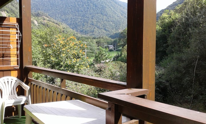 Belle vue dégagée sur montagne
