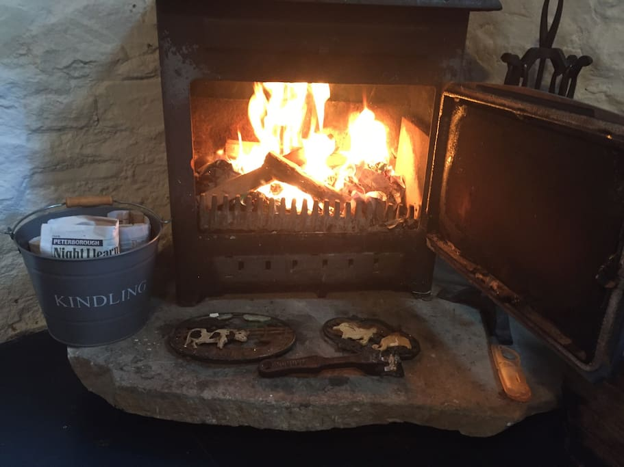 Your log stove .... cook on it or just a radiant cosyness ! Logs available for you ... first basket free ( one nites worth ) log stores just outside on way in