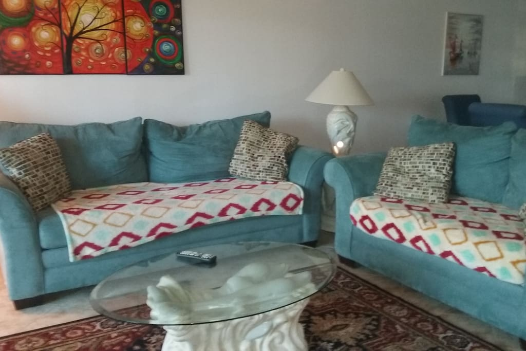 Living room with  New Dolphin tables & lamps