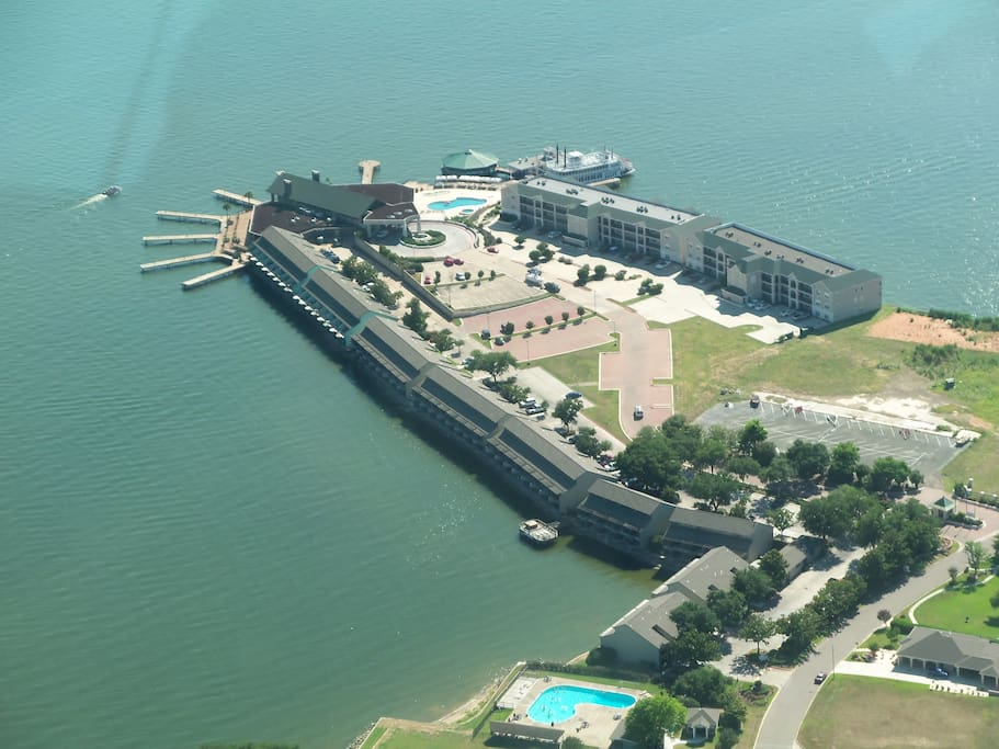 Aerial view of the condos
