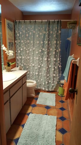 Shower and tub in the charming bathroom