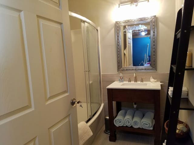 New Master Suite Bath with tub and shower
