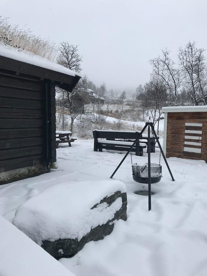 Romslig flott hytte, nært alpinanlegg