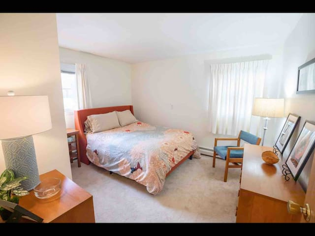 BR#1 with comfy queen size bed, full closet, and dressers.