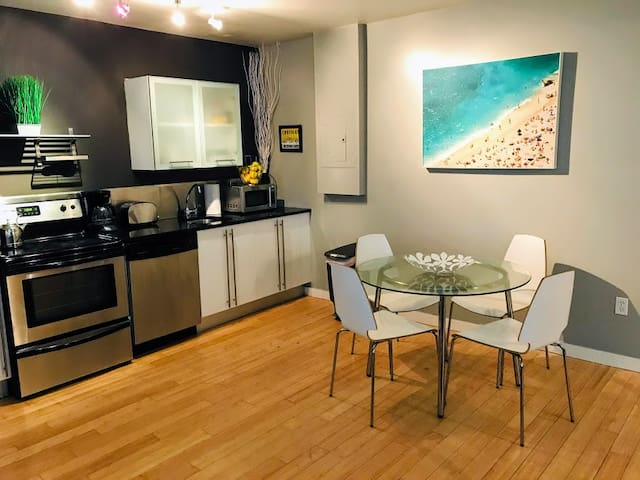 Dining area fits 4 people.